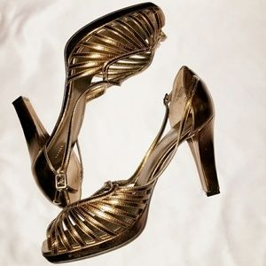 Nine West Casato Gold Strappy Heels